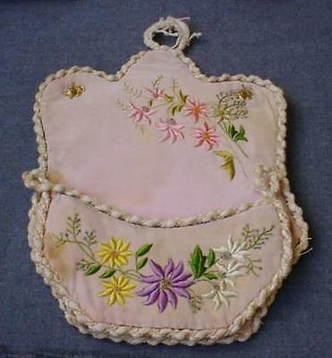 ANTIQUE VICTORIAN HAND EMBROIDERY & BEADED FLOWERS ROSE VELVET WALL POCKET