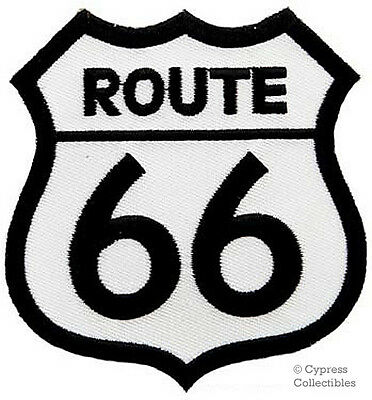 ROUTE 66 iron-on PATCH - Embroidered HIGHWAY ROAD SIGN HISTORIC EMBLEM US WHITE