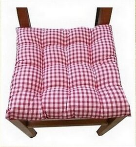 6 coussins galette dessus de chaise vichy rouge ebay. Black Bedroom Furniture Sets. Home Design Ideas