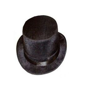 LADIES MENS ADULT BLACK VELOUR VELVET TOP HAT VICTORIAN RINGMASTER FANCY DRESS