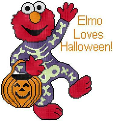 CROSS STITCH+CRAFT PATTERN Sesame Elmo Muppet Halloween Costume Skeleton Pumpkin (Halloween Patterns)