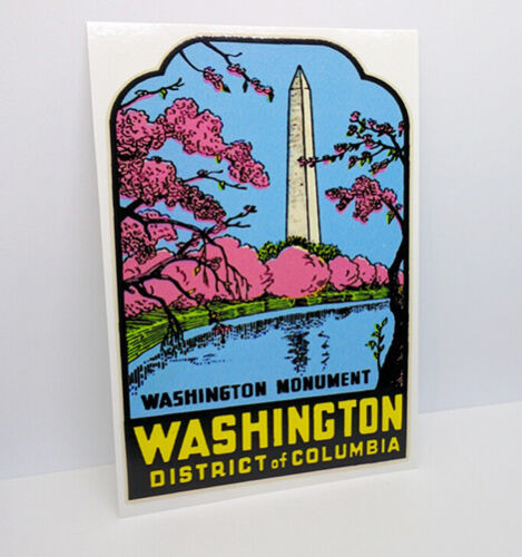 WASHINGTON D.C. Monument Vintage Style Travel DECAL, Vinyl STICKER Luggage Label