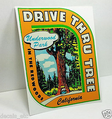 REDWOODS California Vintage Style Travel Decal / Vinyl Sticker, Luggage Label