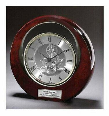 Desk Executive Clock Silver Davinci Eclipse Dark Cherry Award Gift Wedding Boss