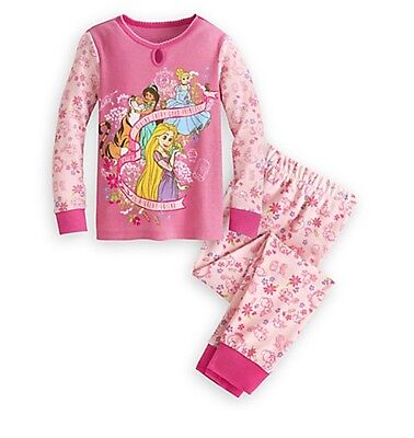 Disney Store Princess Long Sleeve PJ Pal Girls Pajamas Toddler Size 2 3 NWT