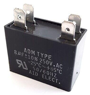 Motor Run Capacitor Metallized Polyester 8uf 250vac 10 Adm250f805k 1 Pc
