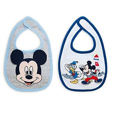 Disney Store Authentic Mickey Mouse & Donald Duck 2pc Bib Set for Baby Boys NEW