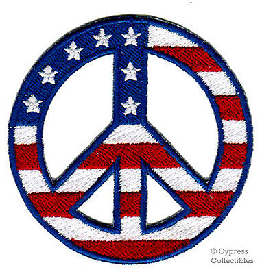 PEACE SIGN iron-on patch WOODSTOCK SUMMER OF LOVE USA EMBROIDERED APPLIQUE flag