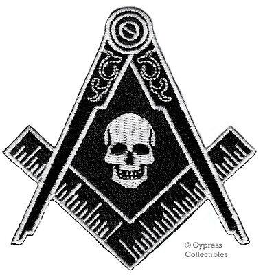 BLACK MASONIC SKULL LOGO EMBROIDERED PATCH FREEMASON SQUARE COMPASS MASON