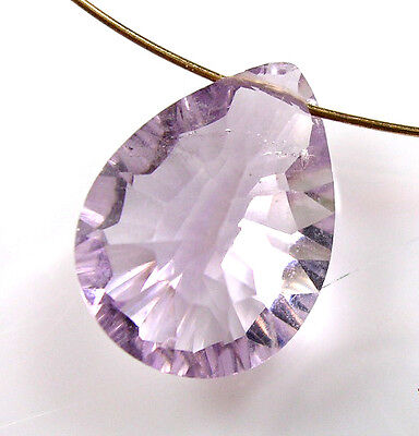 (LARGE GEMSTONE PINK AMETHYST FACETED PEAR CONCAVE CUT BEAD PENDANT 13 mm P42)