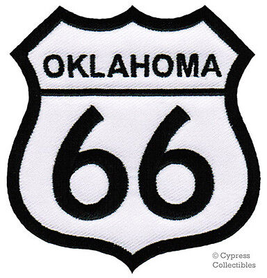 ROUTE 66 OKLAHOMA Iron-on MOTORCYCLE BIKER PATCH New ROAD SIGN Embroidered - $3.60