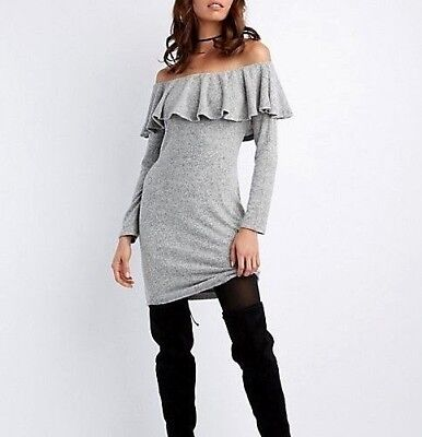 (Charlotte Russe Womens Medium Gray Ruffle Trim Off The Shoulder Bodycon Dress)