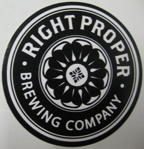 RIGHT PROPER BREWING CO 4 inch black & white Beer STICKER Label WASHINGTON, D.C.
