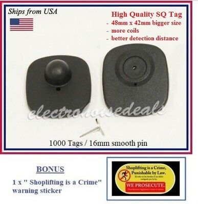 1000 pcs RF CHECKPOINT compatible Anti Theft Security Sensor Tag w/ Pin + BONUS