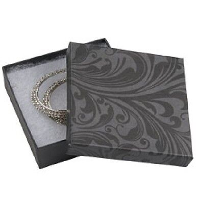 Jewelry Boxes 100 Black Gray 3 12 X 3 12 X 1 Lid Lidded Cotton Filled 33