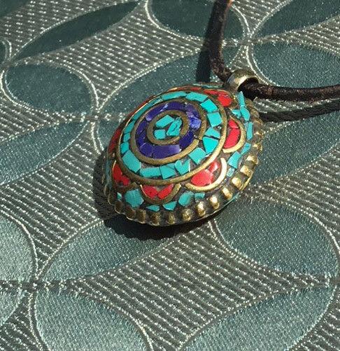 Great Amulet from Nepal Mandala Lapislazuli + Coral + Turquoise