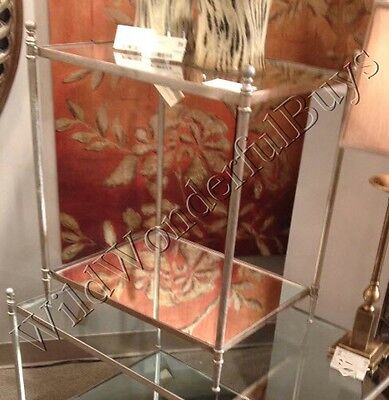 Silver Glass Top Side Table Minimalist Accent End Furniture Mirror Base Tanner ()