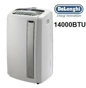 USED DELONGHI AIR CONDITIONER PACAN140HPEWKC 240145993 14000BTU PORTABLE 4IN1 DEHUMIDIFIER FAN HEATER