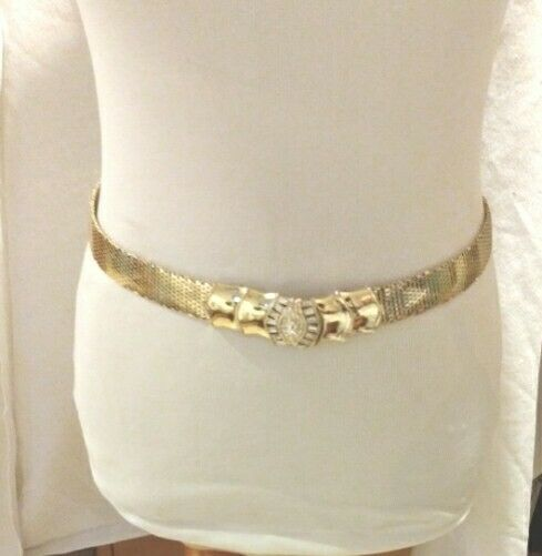 "Vintage Whiting Davis Mesh Gold Adjustable Belt Size up to 31"" with Rhinestones"