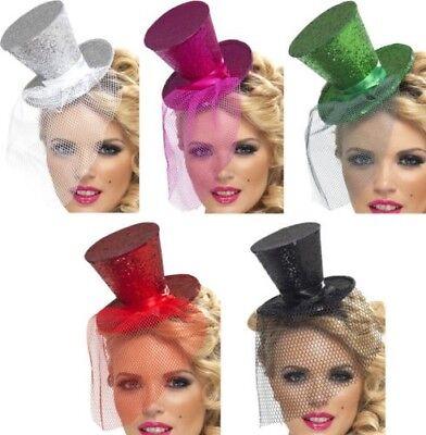 Damen Halloween Sexy Kostüm Mini Hut & Schleier auf Stirnband Zirkusdirektor