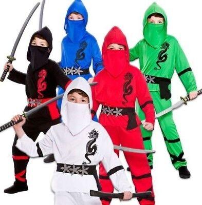 Jungen Power Ninja Japanisch Samurai Krieger Kinder Outfit Alter (Japanischen Ninja Krieger Kostüm)