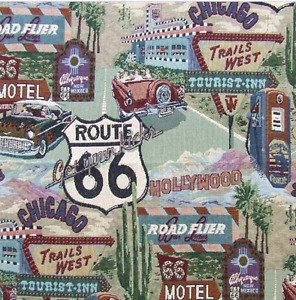 ROUTE 66 Road Signs upholstery fabric