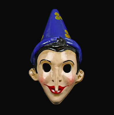 Mask from Venice of Pinocchio Blue Long Nose in Paper Mache Carnival 22366