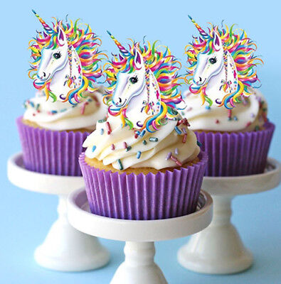 12 STAND UP LARGE RAINBOW UNICORN HORN FAIRY EDIBLE CUPCAKE CAKE IMAGES - Rainbow Cupcake Stand