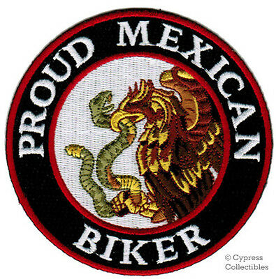 PROUD MEXICAN BIKER embroidered PATCH iron-on MEXICO EAGLE FLAG MOTORCYCLE LOGO