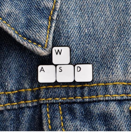 Keyboard Gamer, Gaming Enamel Hat Pin, WASD Video Games Gift