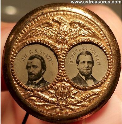 ULYSSES GRANT 1868 POLITICAL CAMPAIGN BRASS FERROTYPE PIN  Images NICE