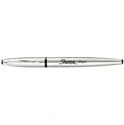 New Sharpie Pen Stainless Steel Permanent Black Ink Fine Point .8mm Comfort Grip