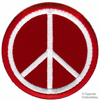 PEACE SIGN iron-on patch WOODSTOCK SUMMER OF LOVE red EMBROIDERED APPLIQUE