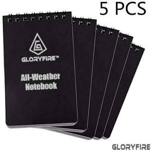 "GLORYFIRE Waterproof Notebook All Weather Shower Pocket 3""x5"", black 5pcs"