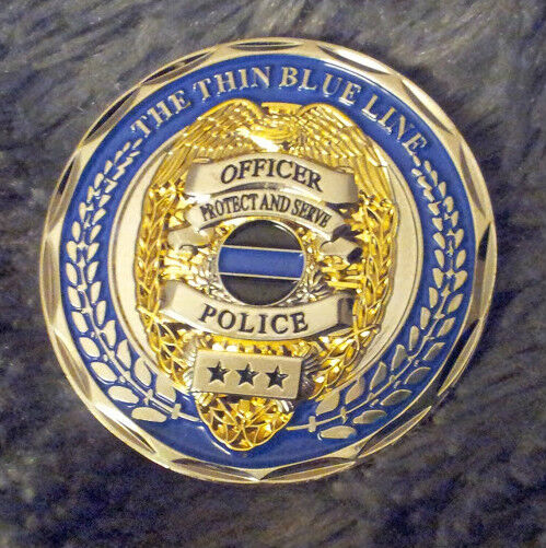 Thin Blue Line - Matthew 5:9 - Law Enforcement Tribute - Police Challenge Coin