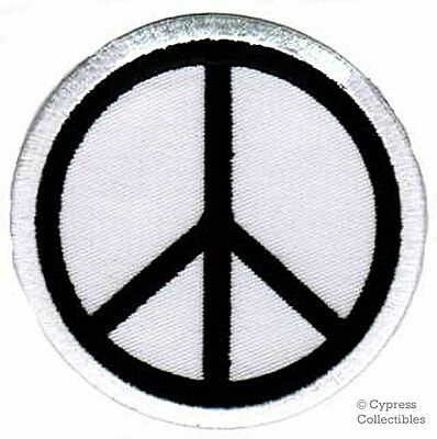 PEACE SIGN iron-on patch WOODSTOCK SUMMER OF LOVE white EMBROIDERED APPLIQUE