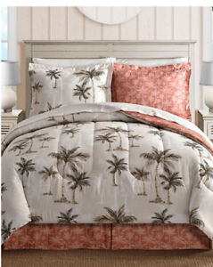 Coral Tropical Palm Tree Hawaiian Beach King Comforter Set (8 Piece Bed In Bag)