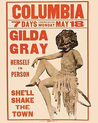 Vintage Antique  Rare  POSTER  1920's Gilda Gray Burlesque Pin-Up  Dancer risque