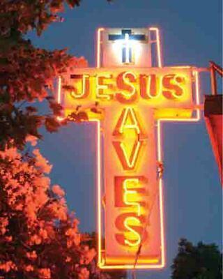 Vintage JESUS SAVES Neon Sign giclee photo 16x20 Christianity