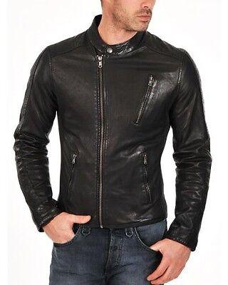 Men Leather Motorcycle Coat Black Bomber 100% Lambskin Slim Fit Jacket
