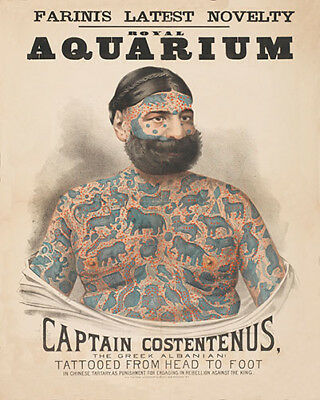 Captain Costentenus The Greek Albanian Vintage Sideshow Attraction Poster
