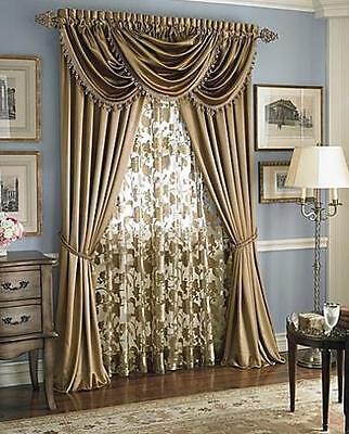- Luxury Hyatt WINDOW TREATMENT- Royal Velvet set of 2 Panel & 3 valance GOLD ant