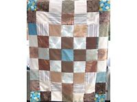 HOMEMADE PATCHWORK THROW - TURQUOISE CHOCOLATE £15 - Ideal for Sofa, Bed or Picnic Rug