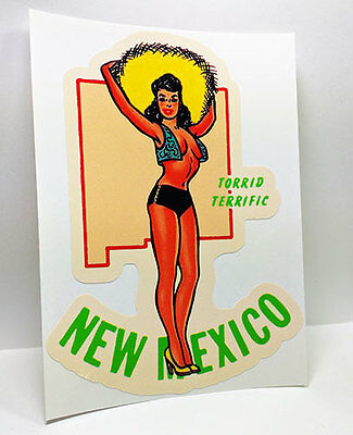 New Mexico State Pinup Vintage Style Travel Decal / Vinyl Sticker, Luggage Label