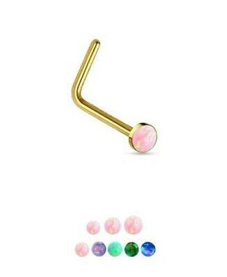 10kt Gelbgold Lbend Faux Opal Nasenstecker Ring 22g (Nasen-ring Gold 22)