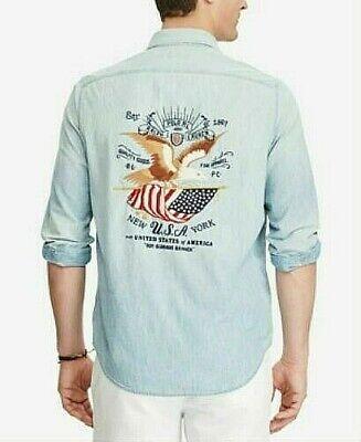 Ralph Lauren Mens Usa Button up Shirt~Indigo~Deep Black~Large~Sale~ORG. (Ralph Lauren Usa Sale)