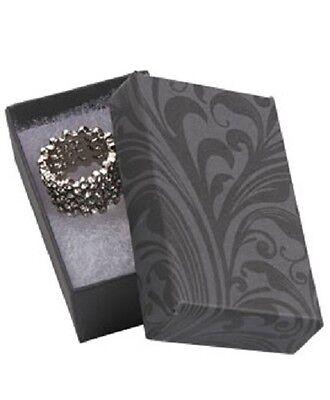 Jewelry Boxes 100 Black Gray Elegant Print Cotton Filled 2 12 X 1 12 X 78