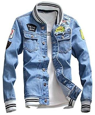 Lifehe Light Blue Denim Jacket With Patches Ribknit collar & cuffs L/XL?