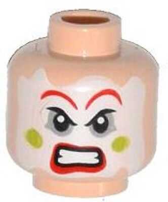LEGO - Minifig, Head Face Paint, Red Lips & Eyebrows, Green Cheeks Angry Pattern (Angry Face Painting)
