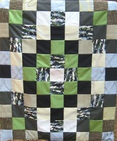 HOMEMADE PATCHWORK THROW - PIXELLATED CAMOUFLAGE £20 - Ideal Present for Boys Children Adults